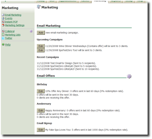 Fully-Enabled Set of Marketing Features Example